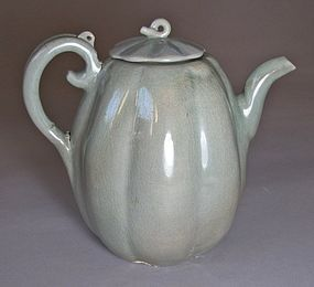 Very Fine Blue Celadon Melon-Form Ewer/Cover-12th C