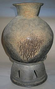 A Very Rare/Large Grey Stoneware Storage Jar with Stand