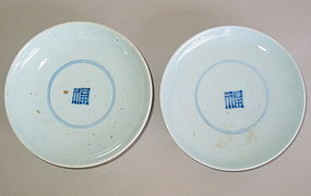 Two Very Fine Blue and White Porcelain Dishes/Character