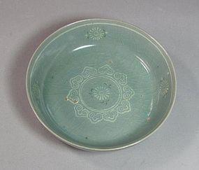 Beautiful Sea-Green Celadon Inlaid Shallow Bowl