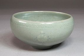 A Very Fine Inlaid Rich Greenish Blue Celadon Cup