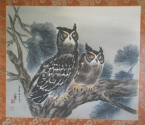 Two Owls Perching on Pine Tree by Woon-Bo,  Kim Ki-Chang