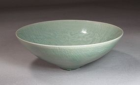 Best Quality of Sea-Green Celadon Impressed Decorated Bowl-12th C