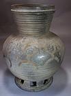 Extrem. Rare Stoneware Jar Incised with Human Figure
