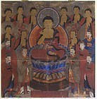 A Very Fine and Rare Amitahha  Buddhist Painting-19th C.: