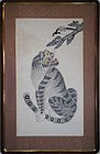 A Fine Korean Traditional Folk Art Tiger and Magpie Painting-19th C.: