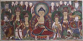 A Very Large, Fine and Rare Korean Buddhist Painting- 18th C.: