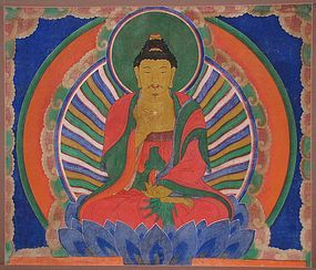 A Very Rare Seated Amitha Buddha Hanging Scroll Painting