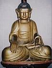 A Very Fine/Rare Korean Wood Carved Seated Amitabha Buddha-19th C.