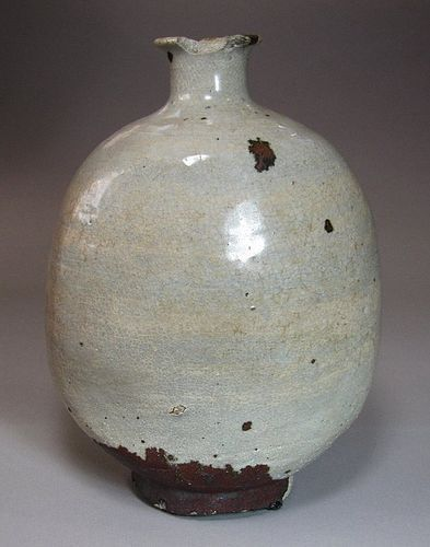 A Very Rare White Slip Coated Punchong Flask Jar-16th C.