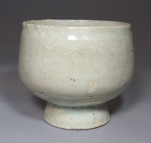 Fine/Rare Punchong White Slip Coated Stem Bowl-16th C.