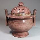 Extre./Rare and Fine Copper-Red Incense Burner-19th C.: