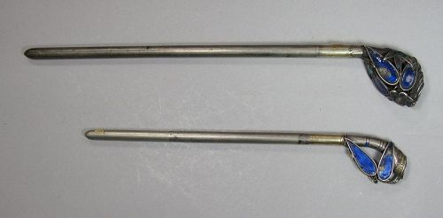 Two Very Rare/Fine Silver Bamboo Enameled Hairpines-19th C.