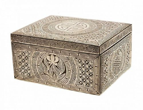 A Very Fine/Rare Silver Inlaid Rectangular Iron Covered Box-19th C.