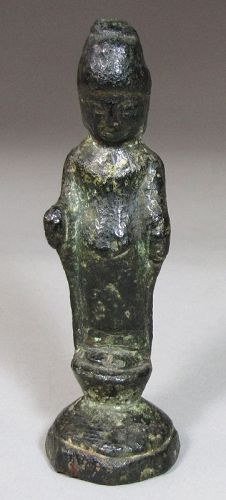 A Very Rare Korean Unified Silla Bronze Standing Figure-8th-10th C.