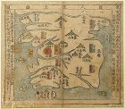 A Rare Korean Peninsular Map of 8 Provinces-19th C.: