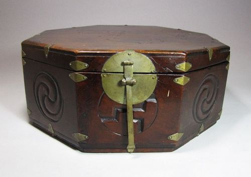 A Fine Octagonal Wood Box/Lid with Carved Decorations-19th C.