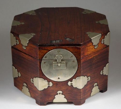 Octagonal Wood Covered Box/White Metal Hinges/Original Lock-19th C.