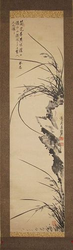 A Fine Korean Orchid Scroll Painting by ��, ��� (1890-1960)