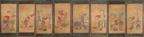 �Chaekkori-���) -Scholar�s Utensils� 8 Panel Paintings-19th C,