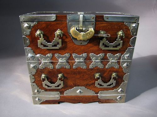 A Rare Jewelry Box in Shape of Blanket Chest/White Brass-19th C.