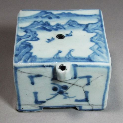 A Fine Blue and White Square Shape Water Dropper-19th C