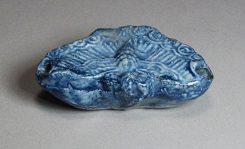 Very Fine Blue Glazed Butterfly Formed Water Dropper-19th C