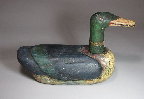 A Very Fine Pigments Painted Wood Carved Wedding Duck-19th C.