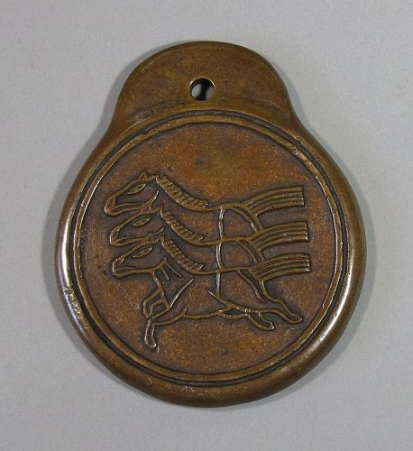 A Very Rare/Fine/Old Korean Bronze Official 3 Horse Warrant