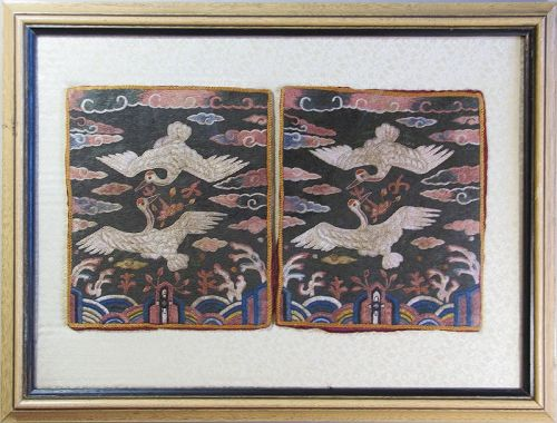 A Pair of Two Fine Korean Crane Civilian Official Badges (�배)-19th C