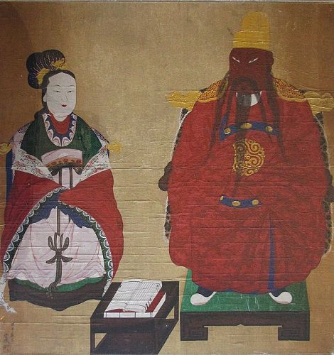 Very Rare/Fine Korean King and Queen�s Portrait Painting-19th C.: