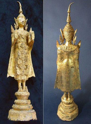 Fine/Large Rattana Kosin Standing Gilt Bronze Buddha Statue
