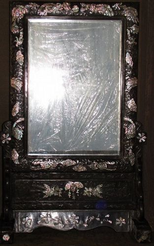Fine/Rare Mother of Pearl/Tortoise Shell Inlaid Up-Right Mirror/Stand
