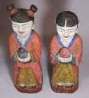 Very Rare/Fin Pair/Boy/Girl Carved Wood/Polychromed Statues-19th C.
