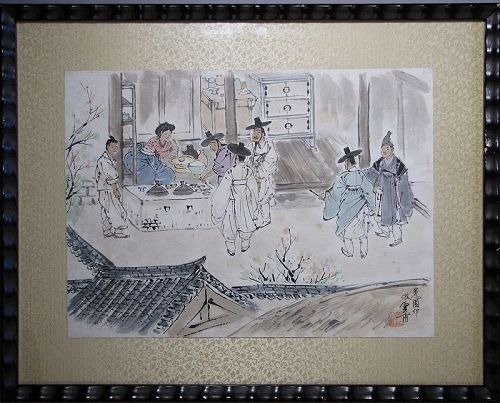 Unbo Kim Ki-Chang - ��-��� (1931-2001)-Korean Genre Painting