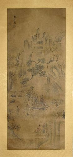Rare Old Tale Landscape Scroll Painting ����-���기/��人��