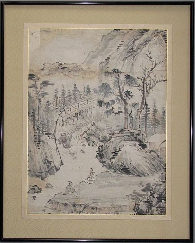 Old/Fine Landscape Painting with Two Scholars  (山水人��)-19th C.