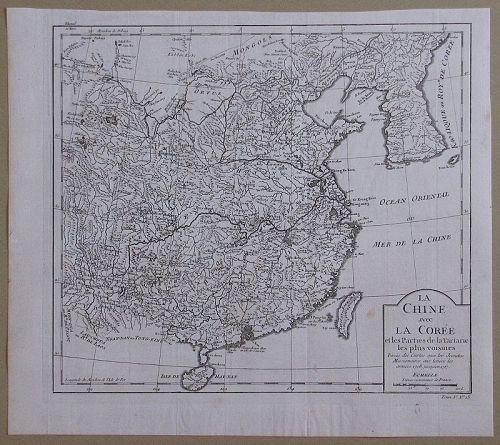 A Very Rare Authentic Map of Korea/China Map-18th C