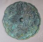 A Fine Koryo Bronze Mirror /Natural Green Patina-11th �14th C