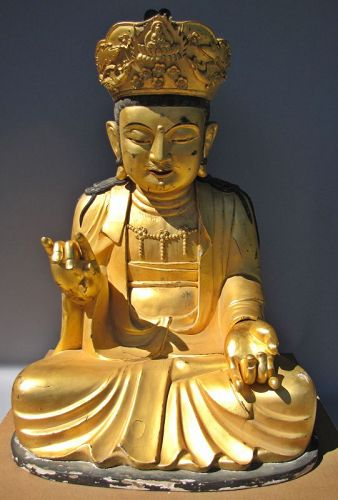 Fine/Rare/Large/Gold Lacquered Wood Seated Buddha-������