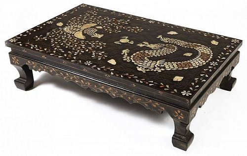 Mother of Pearl/Shagreen Inlaid/Phoenix/Dragon Low Table-19th C.