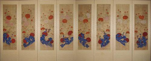 Very Fine 8 Panel Peony Screen (모��) with Rocks and Birds -19th C
