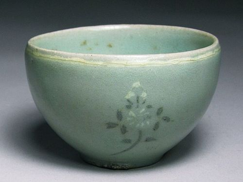 A Very Fine B/W Slip Inlaid Chrysanthemum Celadon Cup-12th C.: