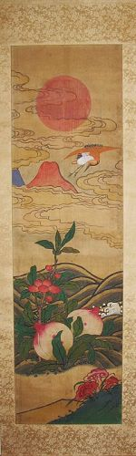 A Very Rare/Fine with Signs of Long Life Scroll Painting-19th C