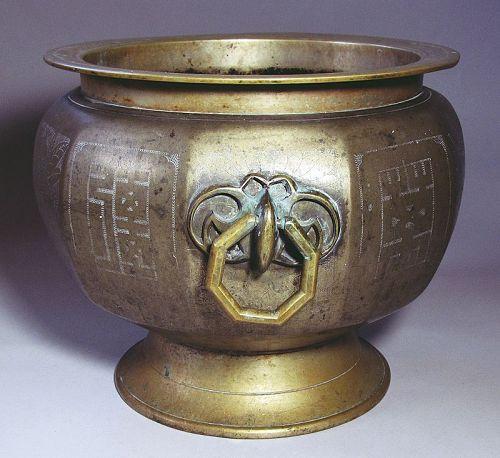Fine Large Korean Decagonal Incised Brass Brazier/Incense Burne-19th C