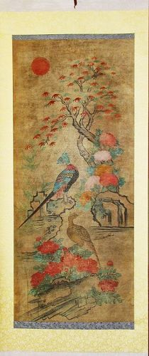 Very Fine Colorful Korean Bird and Flower Scroll Painting-19th C
