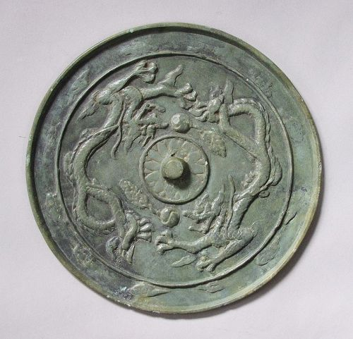 A Fine/Large Korean Koryo Two Dragon Bronze Mirror/Dark Green Patina