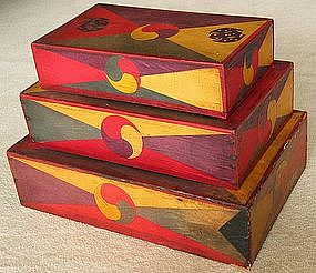 A Rare Three Stacking Sewing Boxes with Wooden spool