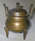 A Fine Brass Tripot Incese Burner with Cover