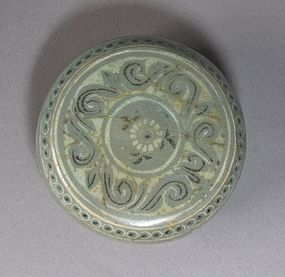 A  Rare Inlaid Celadon Cosmetic Box and Cover